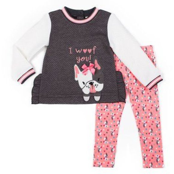 Little Lass | 'I Woof You' Frenchie 2 piece outfit